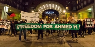 Linke Demonstranten fordern in Budapest die Freilassung des Syrers Ahmed H.